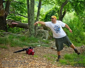 Joe Mason disc golfing - July 2012