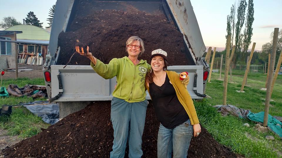 Robin and Alissa delivering compost load