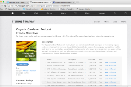 Organic Gardener Podcast iTunes Preview Screenshot