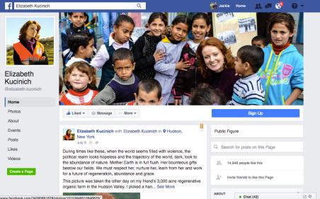 Elizabeth Kucinich Facebook Page