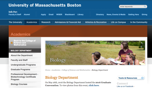 UMASS Boston Biology Degree