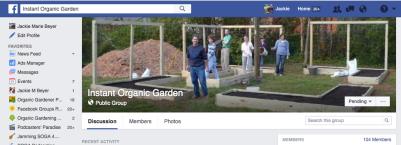 Instant Organic Garden FB page