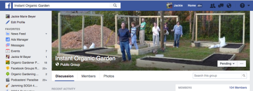 Instant Organic Garden FB page