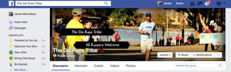 Diz Runs Tribe Facebook page
