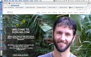 Dizruns.com homepage