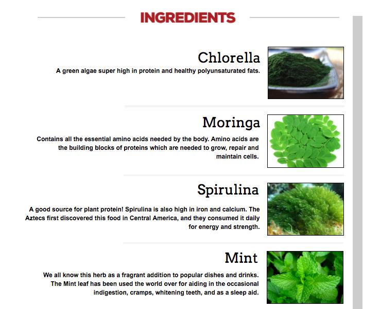 Organifi Ingredients Chlorella Moringa Spirulina Mint