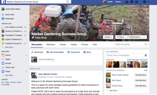 Market Gardener Success Facebook FB Group