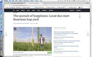 Crooked Yard Hops Bozeman Daily Chronicle Article