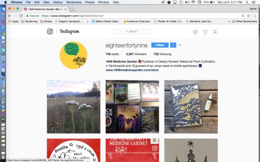 1849 Medicine Garden Instagram page