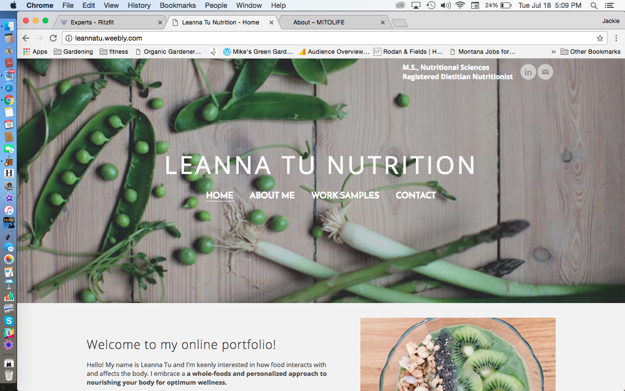 Leaana Tu Nutrition Webstie