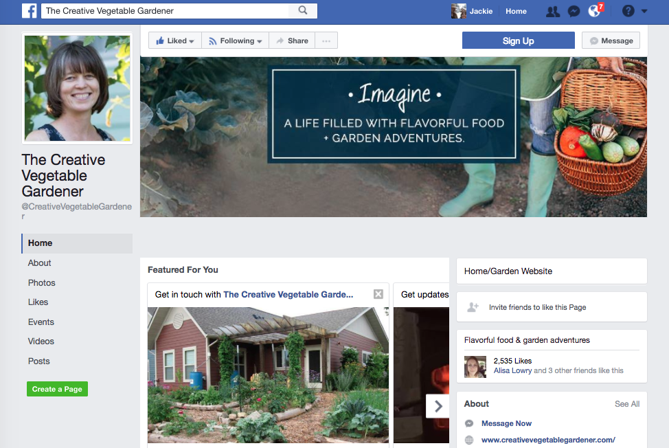 The Creative Vegetable Gardener FaceBook page