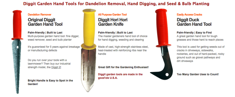 Diggit Garden HAnd Tool, Diggit Hori Hori Garden Knife and Diggit Duck Garden Hand tool