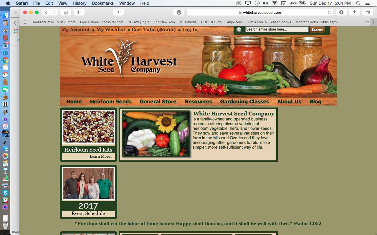 White Harvest Seed Company Heirloom SeedsWebsite Page