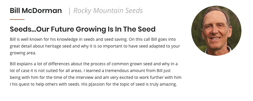 Bill McDorman Rocky Mountain Seeds Soil Health Summit