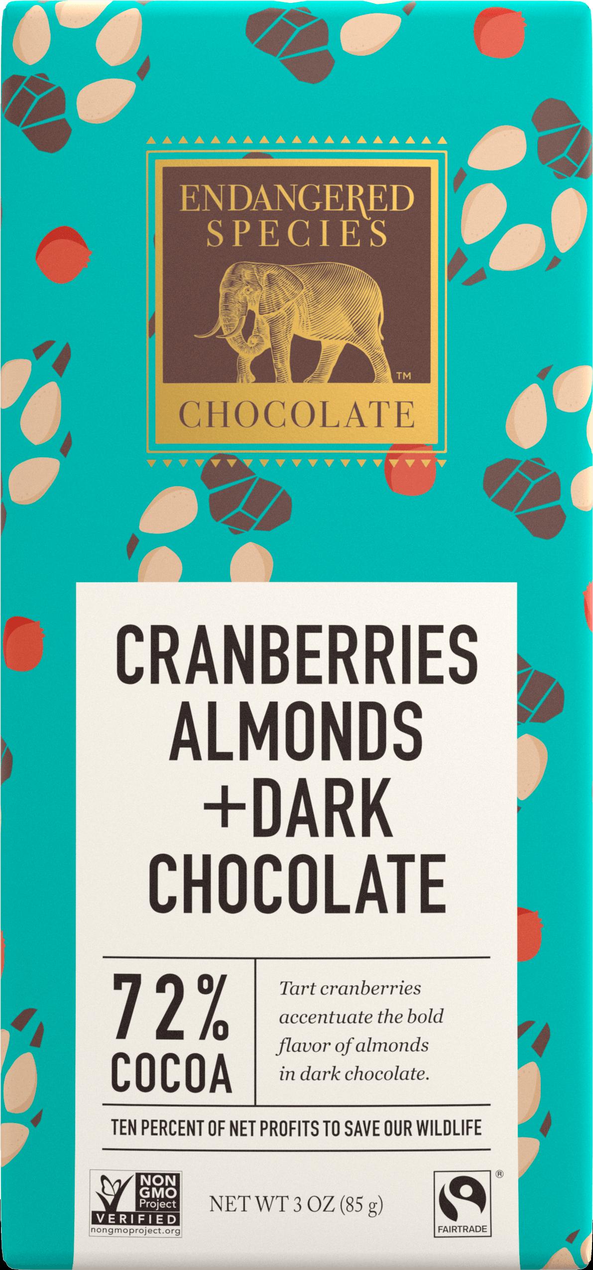 Endangered Species Cranberries Almonds Chocolate Bar