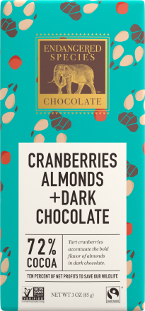 Endangered Species Cranberries Almonds Chocolate Bar
